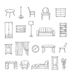 Sketch furniture bookcase and chairs sofa vector