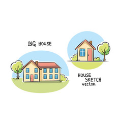 Sketch of house architecture vector
