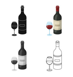 Spanish wine bottle with glass icon in cartoon vector