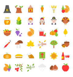 thanksgiving icon big set flat design vector image