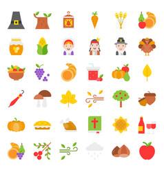 thanksgiving icon big set flat design vector image