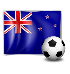 The flag of New Zealand with a soccer ball vector