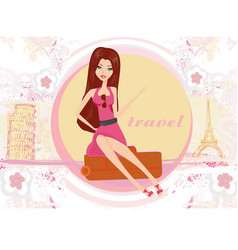 Travel girl in france and italy with baggage vector