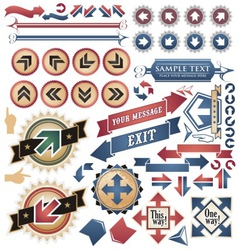 Vintage arrows - icons and symbols collection vector image