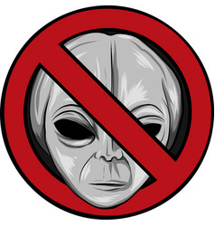Warning signs for aliens face vector