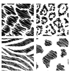 Wild animal abstract backgrounds set vector