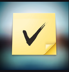 Yellow Stick Note with Tick Sign vector image