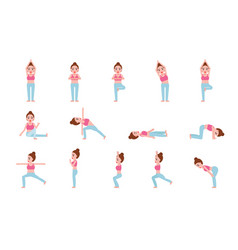 yoga postures set flat design vector image