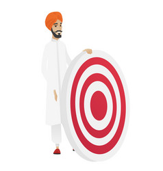 young hindu businessman and dart board vector image