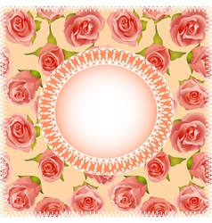 background with roses and lace vector image vector image