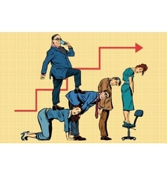 Boss business career on the backs of workers vector image
