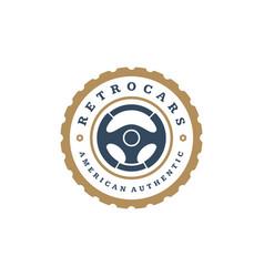car steering wheel logo template design vector image vector image