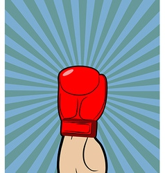 Hand in Boxing Glove Winner boxing champion raised vector image