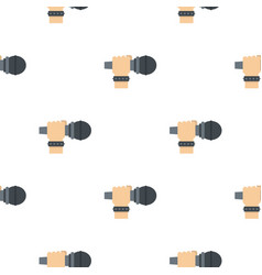 hand microphone pattern seamless vector image vector image