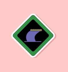 paper sticker on stylish background tsunami sign vector image
