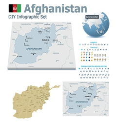Afghanistan maps with markers vector image