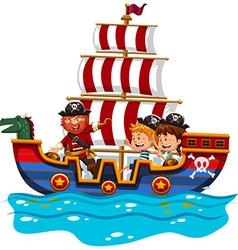 Children riding on viking ship at sea vector image vector image