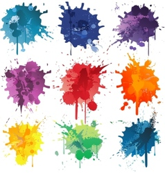 Colorful Abstract ink paint splats vector image vector image