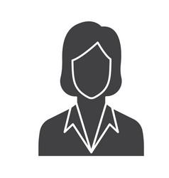 Flat black secretary icon vector