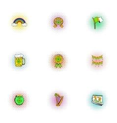 Saint patrick day icons set pop-art style vector