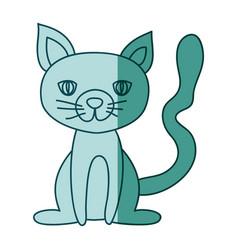 aquamarine hand drawn silhouette of cat sitting vector image