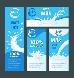 cartoon natural milk brochures vector image