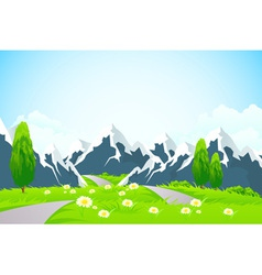 Green Landscape Background with Mountains vector image vector image