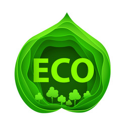 paper art of eco park on green leaf shape origami vector image