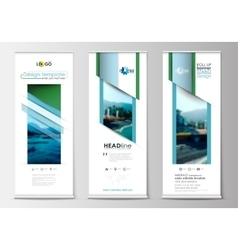 Roll up banner stands flat design abstract vector image vector image