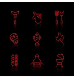 set of barbecue and grill thin line icons vector image vector image