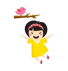Beautiful romantic asian girl and bird cute vector image