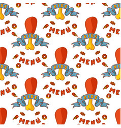 kids organic menu hand drawn seamless pattern vector image