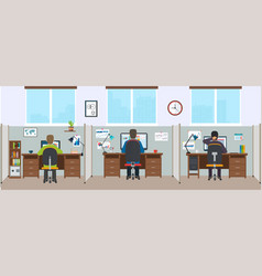 office interior with employees modern office vector image