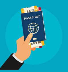 Passport with tickets in hand isolated on vector