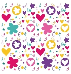 pattern flowers and hearts poster icon vector image