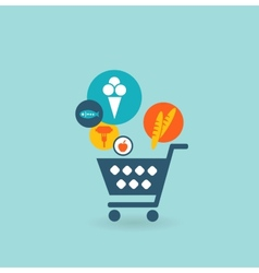 Shopping basket with foods the composition of the vector image