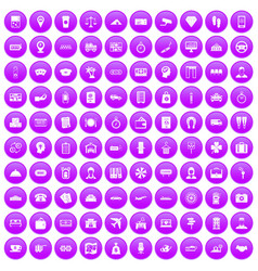 100 paying money icons set purple vector