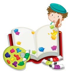 A boy painting a book vector image