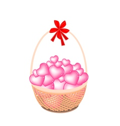 A Brown Basket of Stack of Hearts vector