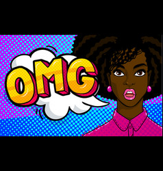 African american woman face in pop art style vector
