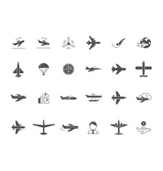 Airplane black icons jet aircraft military forces vector