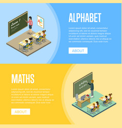 Alphabet and maths lessons at school vector