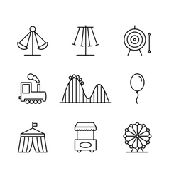 Amusement park icons in thin line style vector image