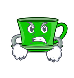 angry green tea mascot cartoon vector image