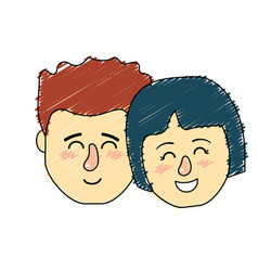 Avatar couple head with hairstyle design vector