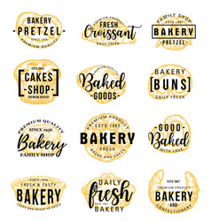 bakery shop icons with lettering pastry food vector image