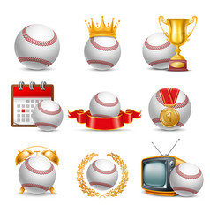 baseball ball icon set vector image