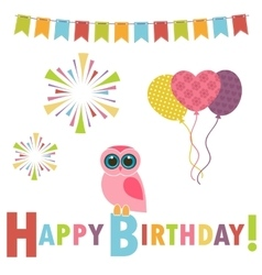 Birthday card with pink owl vector