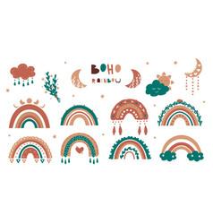 boho rainbow minimalist banner in childish style vector image