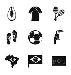 brazilia icon set simple style vector image